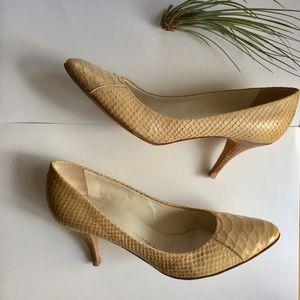 Giuseppe Zanotti Snakeskin Nude Pump Wooden Heel